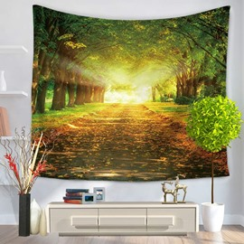 Early Autumn Flourish Forest and Yellow Fallen Leaves Decorative Hanging Wall Tapestry