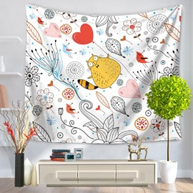 Cotton Yellow Cat and White Flowers Pattern Simple Style Decorative Hanging Wall Tapestry