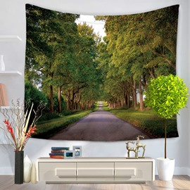 Trees and Long Road to Autumn Pattern Decorative Hanging Wall Tapestry