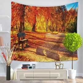 Sunset Autumn Yellow Leaves and Chair Shade Decorative Hanging Wall Tapesrty