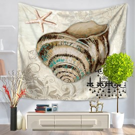 Vintage Style Mediterranean Sea Snails and Starfish Decorative Hanging Wall Tapestry