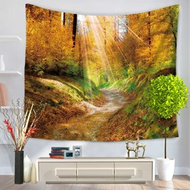 Sunshine Penetration into Autumn Woods and Zigzag Path Decorative Hanging Wall Tapestry