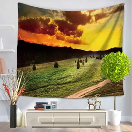 Overlooked Mountain and Sunrise Landscape Decorative Hanging Wall Tapestry
