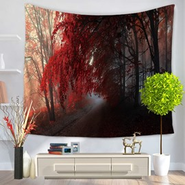 Foggy Forest and Red Leaves with Magical Path Decorative Hanging Wall Tapestry