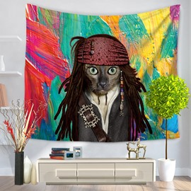 Famous Captain Jack Shape with Dog Face Decorative Hanging Wall Tapestry