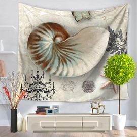 Mediterranean Sea Snails Vintage Style Decorative Hanging Wall Tapestry