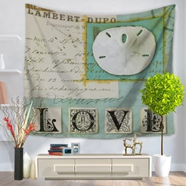 Mediterranean Style Sea Shells with Love Letters Decorative Hanging Wall Tapestry
