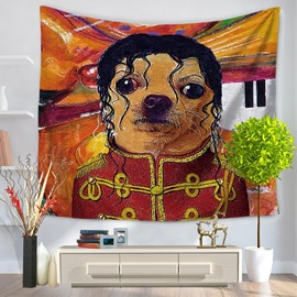 Animal Star Michael Jackson Shape with Dog Face Decorative Hanging Wall Tapestry