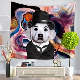 Famous Stars Chaplin with Dog Wearing Hat Decorative Hanging Wall Tapestry