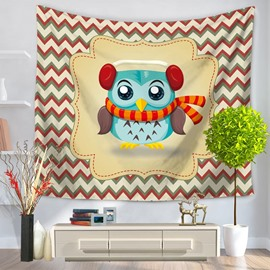 Lovely Cartoon Blue Owl with Scarf Stripes Pattern Decorative Hanging Wall Tapestry