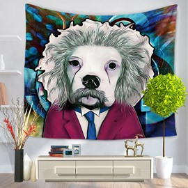 Famous Celebrity Einstein with White Dog Face Decorative Hanging Wall Tapestry