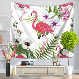 Flamingo with Tropical Plants and White Flowers Pattern Decorative Hanging Wall Tapestry