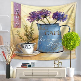 Garden Flowers and Plants Coffee Design Pattern Decorative Hanging Wall Tapestry