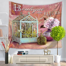 Boutigue Pink Flowers and Plants House Pattern Decorative Hanging Wall Tapestry