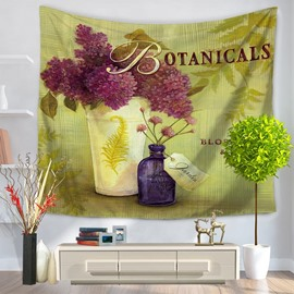Artful Decorative Botanical Purple Flowers Pattern Hanging Wall Tapestry