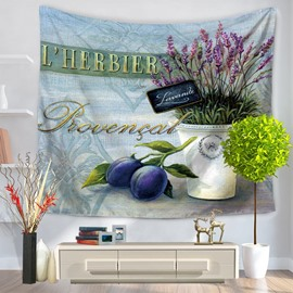 Dark Purple Fruits and Basin Flowers Pattern Decorative Hanging Wall Tapestry