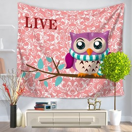 Lovely Cartoon Purple Owl in Branch Pattern Pink Decorative Hanging Wall Tapestry