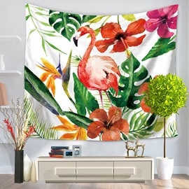 Flamingo with Tropical Palm Leaves Foliage Pattern Decorative Hanging Wall Tapestry