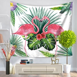 Flamingos Falling in Love Tropical Palm Leaves Pattern Decorative Hanging Wall Tapestry