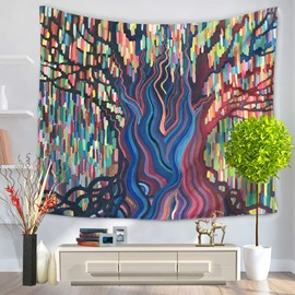 Oil Painting Colorful Stripes Tree Shape and Lights Decorative Hanging Wall Tapestry