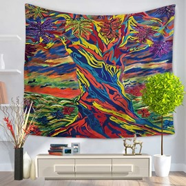 Oil Painting Colorful Tree Silhouette Pattern Decorative Hanging Wall Tapestry