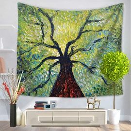 Tall Green Tree Pierced into Sky Pattern Decorative Hanging Wall Tapestry