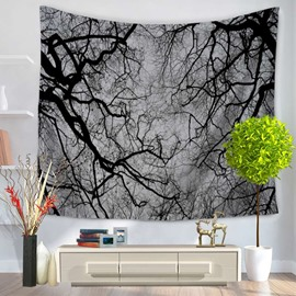 Cluster of Bald Tree Branches and Gray Sky Decorative Hanging Wall Tapestry