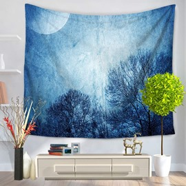 Tree Shadows and Blue Galaxy Space Pattern Decorative Hanging Wall Tapestry