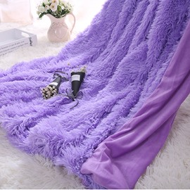 Princess Style Solid Orchid Purple Soft and Fluffy Double Layer Throw Blanket
