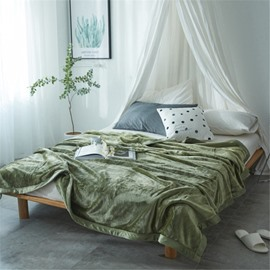 Solid Collard Green Super Soft Coral Fleece Bed Blankets