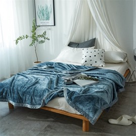 Solid Blue Super Soft Coral Fleece Bed Blankets