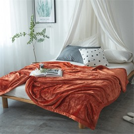 Solid Brown Super Soft Coral Fleece Bed Blankets