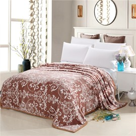 White Floral Scrolls Pattern Coffee Flannel Bed Blankets