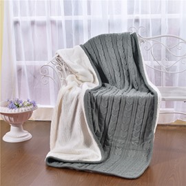 47x71in Solid Gray Super Soft and Reversible Fuzzy Knitted Throw Blankets