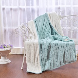 47x71in Solid Sky Blue Super Soft and Reversible Fuzzy Knitted Throw Blankets