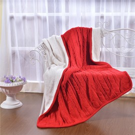 47x71in Solid Red Super Soft and Reversible Fuzzy Knitted Throw Blankets