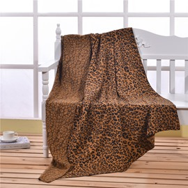51x71in Leopard Printed Super Soft Cotton Knitted Throw Blankets