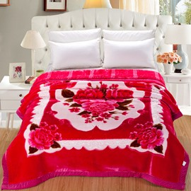 Rose Red Peonies Blooming Printed Super Soft Flannel Thick Bed Blankets