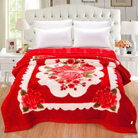 Red Peonies Blooming Printed Wedding Style Flannel Thick Bed Blankets