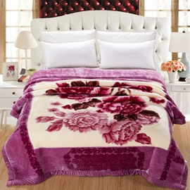 Beautiful Peonies Blossom Printed Grey Purple Plush Flannel Fleece Thick Bed Blankets
