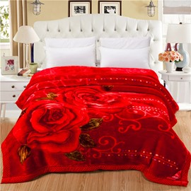 Bright Red Roses Printed Wedding Style Plush Flannel Fleece Thick Bed Blankets