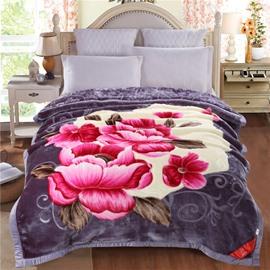 Pink Peonies Blossom Printed Blue Grey Flannel Fleece Bed Blanket