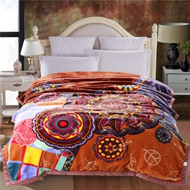 Coffee Floral Mandala Pattern Plush Flannel Fleece Bed Blanket