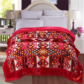 Simple Dot and Plaid Pattern Burgundy Plush Flannel Fleece Bed Blankets