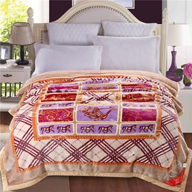 Brown Horse and Grid Pattern Plush Flannel Fleece Bed Blankets