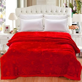 Flowers and Heart Shape Design Red Embroidery Flannel Fleece Bed Blankets