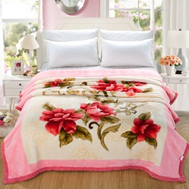 Red Clip Cord Flowers Printed Pink Flannel Fleece Bed Blankets