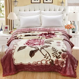Graceful Pink Roses Printed Thick Flannel Fleece Bed Blanket