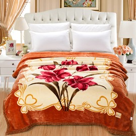 Yellowish-Brown Clip Cord Flowers Printed Flannel Fleece Bed Blankets