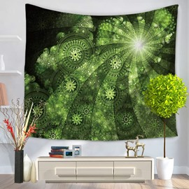 Green Round Floral Plants with Ring of Light Decorative Hanging Wall Tapestry